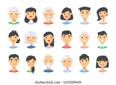 Set of asian male and female characters. Cartoon style elderly and young people icons.