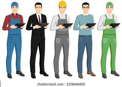 Set of asian men with a digital tablet. Foreman, businessman, engineer, casual, farmer. Isolated on white. Vector illustration