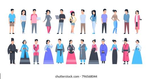 Set Of Asian People Wearing Traditional Costumes And Modern Clothes Full Length Isolated Vector Illustration