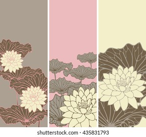 a set of Asian style floral bookmarks with lotus flowers and leaves in pink, ivory and brown