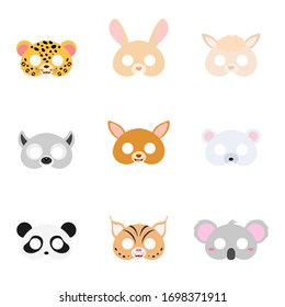 Set of assorted animal masks on face, dress-up, party accessory, DIY animal paper masks, photo booth props masks. Costume party design element. Flat vector stock illustration on white background.