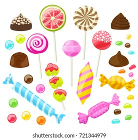 set of assorted candies on white. vector illustration