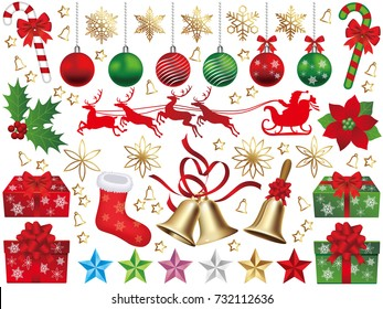 A set of assorted Christmas graphic elements, vector illustration.
