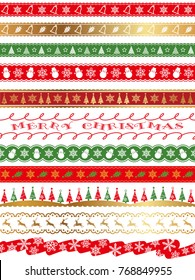 A set of assorted seamless borders and frames for the Christmas season, vector illustration.