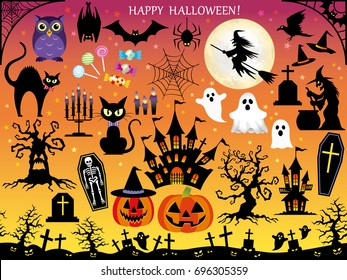 A set of assorted vector illustrations for Halloween.