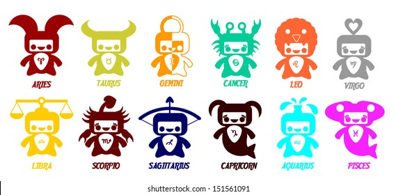 Set of astrological zodiac symbols.Horoscope signs, cute  design in different colors.