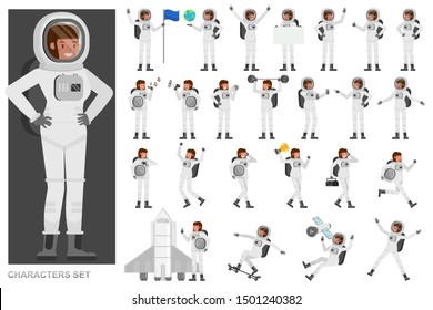 Set of Astronaut woman people working character vector design. Presentation in various action with emotions, running, standing and walking.