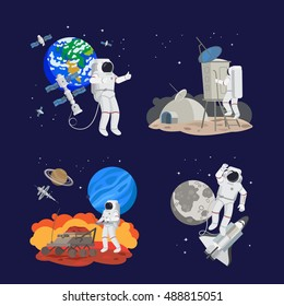 Set of astronauts in space, working and landing on different planets. Earth, mars, moon and space ships vector illustration