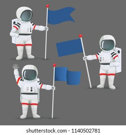 Set of astronauts standing and holding flags with different gestures: giving thumbs up sign, waving and with one arm akimbo. Vector illustration isolated on grey background.