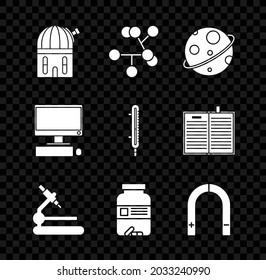 Set Astronomical observatory, Molecule, Planet, Microscope, Medicine bottle and pills, Magnet, Computer monitor with keyboard mouse and Meteorology thermometer measuring icon. Vector