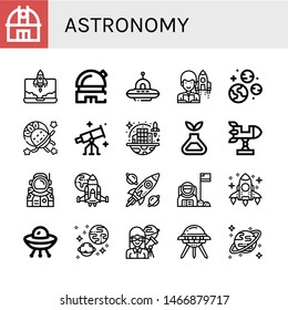 Set of astronomy icons such as Observatory, Rocket, Ufo, Astronomer, Planets, Astronaut, Stargazing, Space colonization, Science, Spaceship, Spacecraft, Universe, Uranus , astronomy