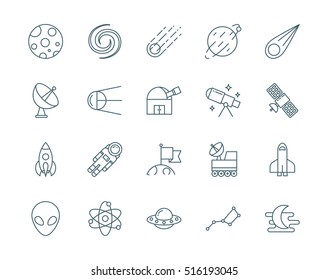 Set of astronomy, science vector icons