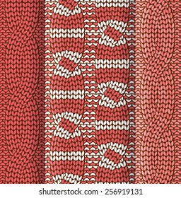 Set of asymmetrical cabled knitted pattern with red and white stripes