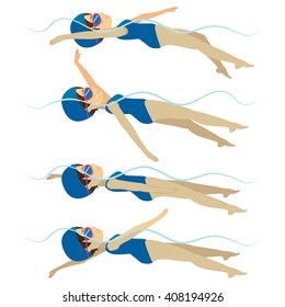 Set with athlete woman swimming backstroke stroke on various different poses training