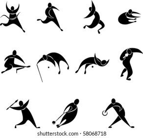 set of athletics icon includes Running, Long jump, Triple jump, High jump, Pole vault,  Shot put,  Discus throw, Hammer throw,  Javelin throw,  Hurdles. EPS8