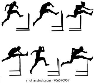 Set athletics running hurdles black silhouette. vector illustration