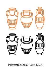 Set of atique contour greek and roman urns, vases, amphoras. Flat vector illustration. Black and oranje colors
