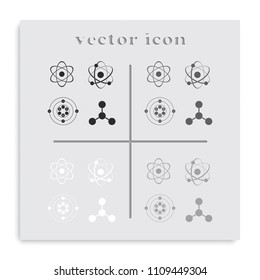 Set of atom flat black and white vector icons.