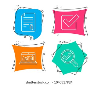 Set of Attachment, Checkbox and Web analytics icons. Analytics sign. Attach file, Approved tick, Statistics. Audit analysis.  Flat geometric colored tags. Vivid banners. Trendy graphic design. Vector