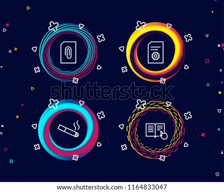 Set Attachment Smoking File Settings Icons Stock Vector Royalty