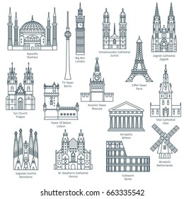Set of attractions of Europe. Famous European landmarks icons. Vector illustration