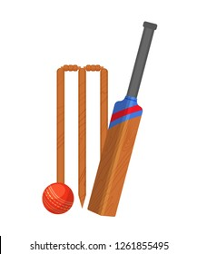 Set of attributes for cricket. Traditional wooden cricket gate, wooden bat, and game ball. Accessories for team training and competition, team motion game. Vector illustration isolated.