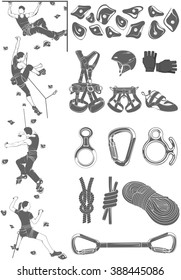 The set of attributes of equipment for climbing, silhouettes the figures of the climbers.Collection of objects for sport competitions of the championship. Set of logos for school and training center.