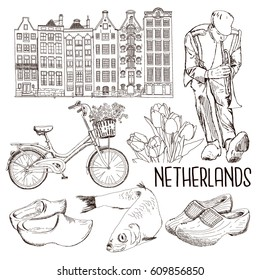 The set of attributes and national symbols of the state of the Netherlands. Hand drawn sketch. The kit includes wooden shoes, bike, house, musician who plays the trumpet, tulips. Vector isolated.