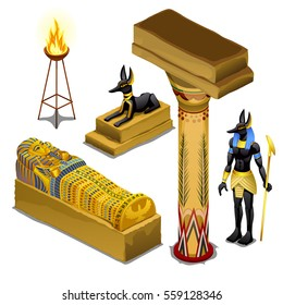 Set of attributes and symbols of the theme of ancient Egypt isolated on white background. Golden figurine in the shape of the sarcophagus of Pharaoh, sacred animals, fire torch. Vector illustration.
