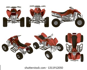Set with the ATV in different types. Red quad detailed isolated on white background. Isometric view, side, front, top. 3D. Vector illustration of atv.