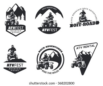 Set of ATV logo, emblems, badges and icons. All-terrain vehicle off-road design elements. ATV quad in mud with rider.