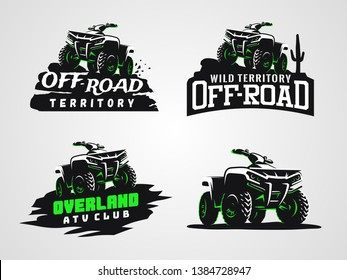 Set of ATV vehicle logo and emblems. All-terrain off-road 4x4 quad illustration.