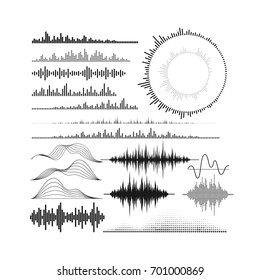 Set of audio equalizer shapes. Sound wave forms. Digital music graphic visualization. HUD elements for design. Vector technology illustration