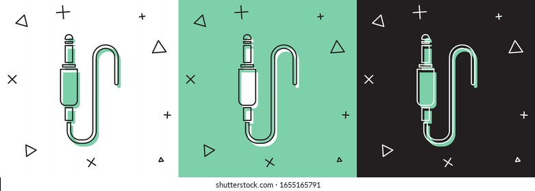 Set Audio jack icon isolated on white and green, black background. Audio cable for connection sound equipment. Plug wire. Musical instrument.  Vector Illustration