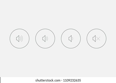 Set Audio Speaker Sound Volume Icon. Volume vector image to be used in web applications, mobile applications and print media. An icon that increases and reduces the sound. Icon showing the mute.
