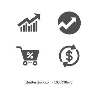 Set of Audit, Demand curve and Special offer icons. Usd exchange sign. Arrow graph, Statistical report, Discounts. Currency rate.  Quality design elements. Classic style. Vector
