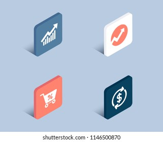 Set of Audit, Demand curve and Special offer icons. Usd exchange sign. Arrow graph, Statistical report, Discounts. Currency rate.  3d isometric buttons. Flat design concept. Vector