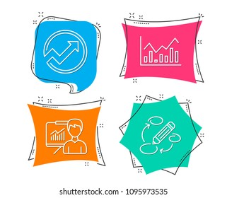 Set of Audit, Infochart and Presentation icons. Keywords sign. Arrow graph, Stock exchange, Education board. Marketing strategy.  Flat geometric colored tags. Vivid banners. Trendy graphic design