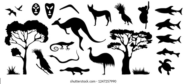 Set of Australian animals and birds silhouettes. The nature of Australia. Isolated on white background. Black silhouette of trees, kangaroo, masks, sharks, boomerang. Hand drawn. Vector illustration.