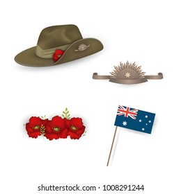 Set of australian flag, Anzac australian army slouch hat with red poppy, Decorative anzac poppies beautiful  flowers isolated. Design elements for Anzac Day or Remembrance Armistice Day. vector.