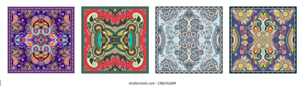 set of authentic silk neck scarf or kerchief square pattern design in ukrainian style for print on fabric, vector illustration collection