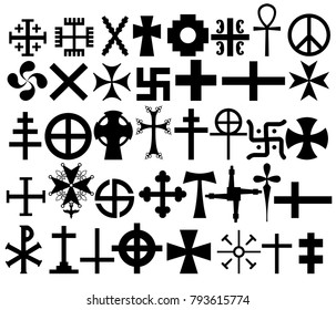 Set of authentic, stamped, religious crosses, signs. Vector illustration. EPS 10.