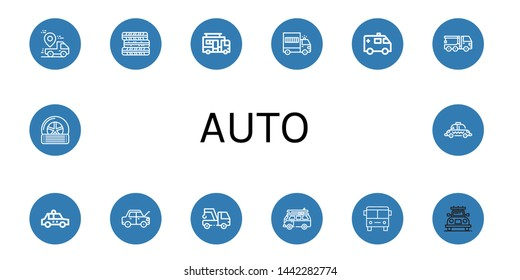 Set of auto icons such as Truck, Tires, Caravan, Prisoner transport vehicle, Ambulance, Crane truck, Taxi, Car, Tow, Van, Bus, Tyre , auto