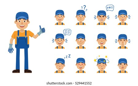 Set of auto mechanic character emoticons. Worker avatars showing different facial expressions. Happy, sad, smile, laugh, tired, angry, surprised, in love and other emotions. Simple vector illustration