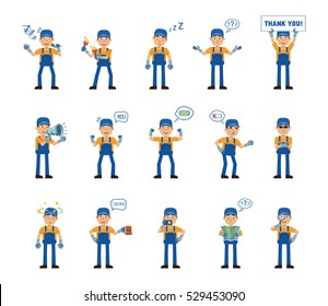 Set of auto mechanic characters posing in different situations. Cheerful mechanic karaoke singing, dancing, sleeping, holding banner, loudspeaker and doing other actions. Simple vector illustration