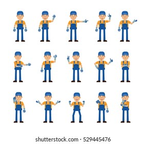 Set of auto mechanic characters showing different hand gestures. Cheerful mechanic showing thumb up gesture, pointing, greeting, waving and other hand gestures. Flat vector illustration