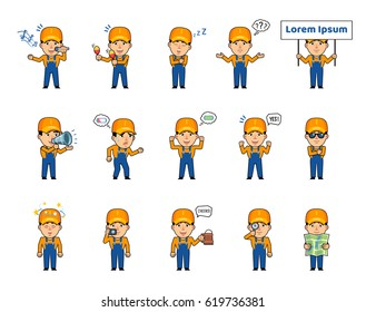 Set of auto mechanic characters showing various actions, emotions. Funny workman holding placard, loudspeaker, beer mug, singing, tired, sleeping and doing other actions. Simple vector illustration
