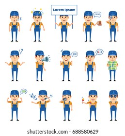 Set of auto mechanic characters showing various actions, emotions. Funny workman singing, reading map, holding signboard, dazed and showing other actions. Simple vector illustration