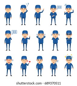 Set of auto mechanic characters showing various emotions. Funny workman laughing, crying, dazed, surprised and showing other emotions. Simple vector illustration