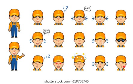 Set of auto mechanic emoticons. Funny workman emojis showing various facial expressions. Happy, laugh, sad, angry, serious, shocked, dazed, in love and other emotions. Simple vector illustration
